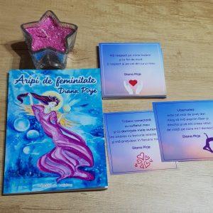 Set carte, cartonase cu afirmatii pozitive si lumanare magica
